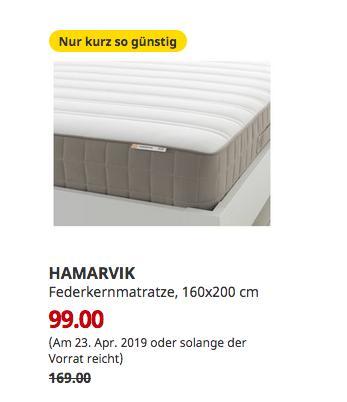 IKEA Augsburg - HAMARVIK Federkernmatratze, fest, 160x200 cm - jetzt 41% billiger