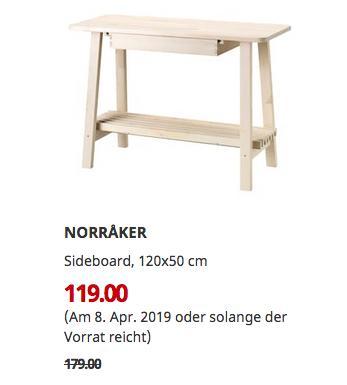 IKEA Augsburg - NORRAKER Sideboard, 120x50 cm - jetzt 34% billiger