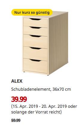 IKEA Bielefeld - ALEX Schubladenelement, Birkenachbildung, 36x70 cm - jetzt 33% billiger