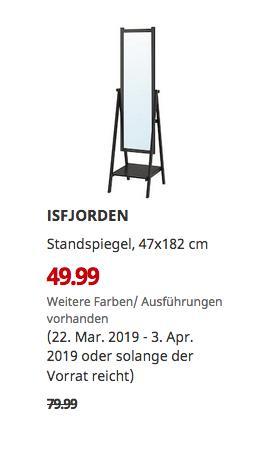 IKEA Bielefeld - ISFJORDEN Standspiegel, schwarzbraun gebeizt, 47x182 cm - jetzt 38% billiger