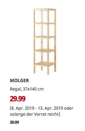 IKEA Bielefeld - MOLGER Regal, Birke, 37x140 cm - jetzt 25% billiger