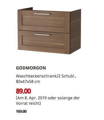 IKEABrinkum - GODMORGON Waschbeckenschrank/2 Schubl., Nussbaumnachbildung, 80x47x58 cm - jetzt 44% billiger