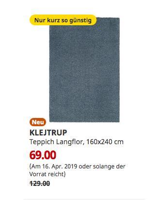 IKEA Brinkum - KLEJTRUP Teppich Langflor, blau, 160x240 cm - jetzt 47% billiger