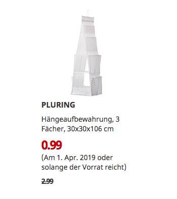 IKEA Brinkum - PLURING Hängeaufbewahrung, 3 Fächer, weiß - jetzt 67% billiger
