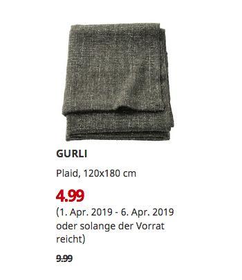 IKEA Chemnitz - GURLI Plaid, graugrün, 120x180 cm - jetzt 50% billiger