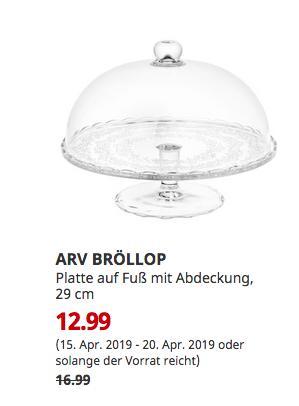 IKEA Düsseldorf - ARV BRÖLLOP Platte auf Fuß mit Abdeckung, Klarglas, 29 cm - jetzt 24% billiger