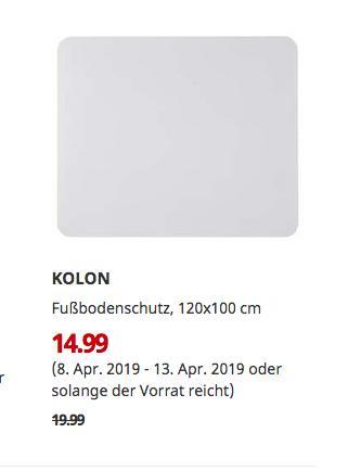 IKEA Düsseldorf - KOLON Fußbodenschutz, 120x100 cm - jetzt 25% billiger