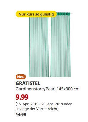 IKEA Duisburg - GRATISTEL Gardinenstore/Paar, grün, 145x300 cm - jetzt 33% billiger