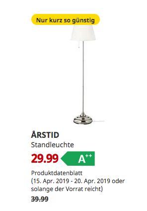 IKEAEssen - ARSTID Standleuchte, vernickelt, weiß,155 cm hoch - jetzt 25% billiger