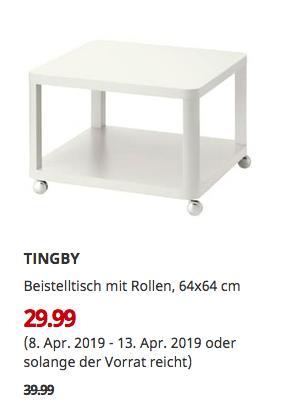IKEA Essen - TINGBY Beistelltisch mit Rollen, weiß, 64x64 cm - jetzt 25% billiger