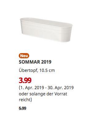 IKEA Frankfurt - SOMMAR 2019 Übertopf, weiß, 10.5 cm - jetzt 33% billiger
