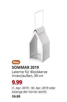 IKEA Frankfurt - SOMMAR 2019 Laterne für Blockkerze innen/außen, weiß, 39 cm - jetzt 50% billiger