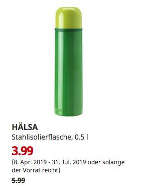 IKEA Großburgwedel - HÄLSA Stahlisolierflasche, grün, 0.5 l - jetzt 33% billiger