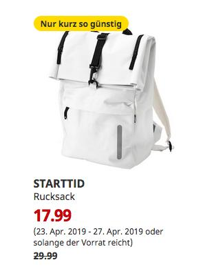 IKEA Hamburg-Moorfleet - SARTTID Rucksack, elfenbeinweiß, 28x61x15 cm - jetzt 40% billiger