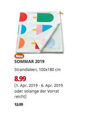 IKEA Hamburg-Moorfleet - SOMMAR 2019 Strandlaken, bunt, 100x180 cm - jetzt 31% billiger