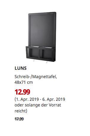 IKEA Hamburg-Schnelsen - LUNS Schreib-/Magnettafel, schwarz, 48x71 cm - jetzt 28% billiger