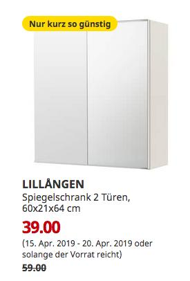 IKEA Köln-Am Butzweilerhof - LILLANGEN Spiegelschrank 2 Türen, weiß, 60x21x64 cm - jetzt 34% billiger