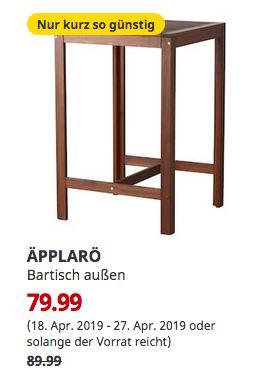 IKEA Köln-Godorf - ÄPPLARÖ Bartisch außen, braun las.,105 cm hoch - jetzt 11% billiger
