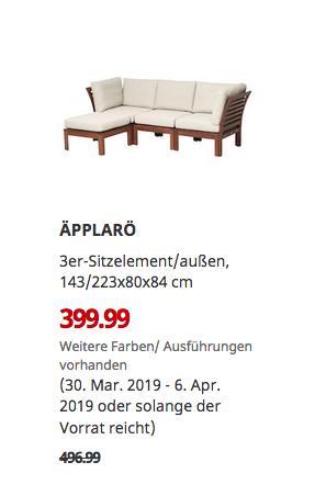 IKEA Kaarst - ÄPPLARÖ 3er-Sitzelement/außen, brau/beige - jetzt 20% billiger