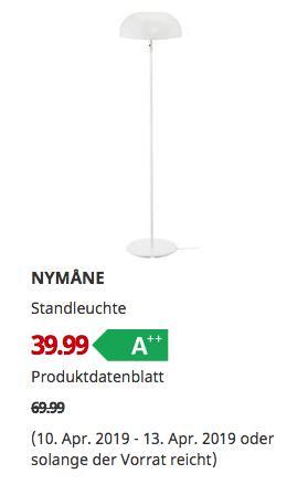 IKEA Kamen - NYMANE Standleuchte, weiß,146 cm hoch - jetzt 43% billiger