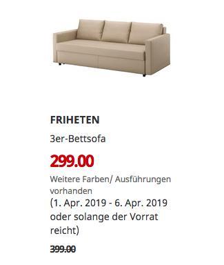 IKEA Kassel - FRIHETEN 3er-Bettsofa, Skiftebo beige - jetzt 25% billiger