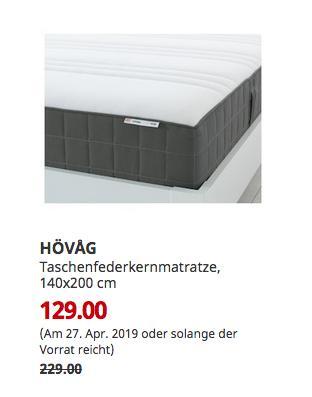 IKEAKoblenz - HÖVAG Taschenfederkernmatratze, mittelfest, dunkelgrau, 140x200 cm - jetzt 44% billiger