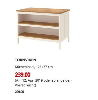 IKEA Koblenz - TORNVIKEN Kücheninsel, elfenbeinweiß, Eiche, 126x77 cm - jetzt 20% billiger
