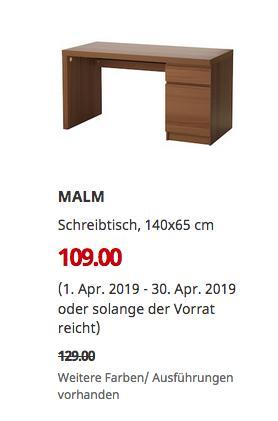 IKEA Ludwigsburg - MALM Schreibtisch, braun las. Eschenfurnier, 140x65 cm - jetzt 16% billiger