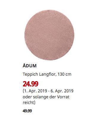 IKEAMagdeburg - ADUM Teppich Langflor, blassrosa, 130 cm - jetzt 50% billiger