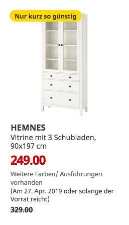 IKEA Regensburg - HEMNES Vitrine mit 3 Schubladen, weiß gebeizt, 90x197 cm - jetzt 24% billiger
