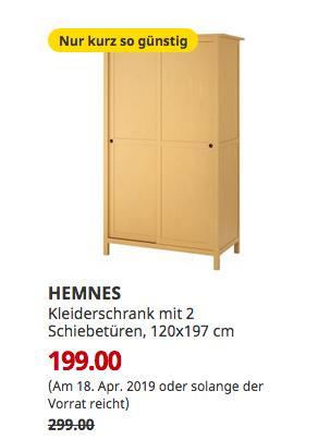 IKEA Saarlouis - HEMNES Kleiderschrank mit 2 Schiebetüren, gelb, 120x197 cm - jetzt 33% billiger