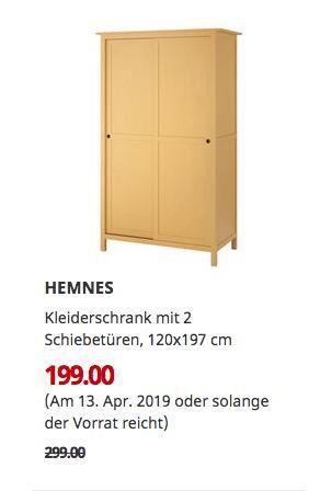 IKEA Siegen - HEMNES Kleiderschrank mit 2 Schiebetüren, gelb, 120x197 cm - jetzt 33% billiger