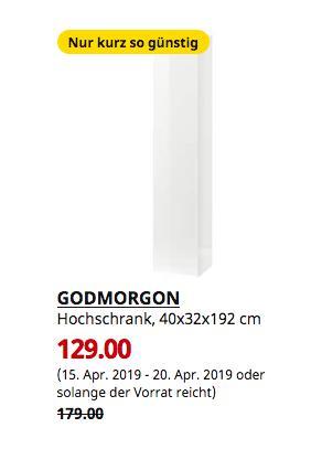 IKEA Sindelfingen - GODMORGON Hochschrank, Hochglanz weiß, 40x32x192 cm - jetzt 28% billiger
