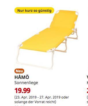 IKEA Sindelfingen - HAMÖ Sonnenliege, gelb - jetzt 33% billiger