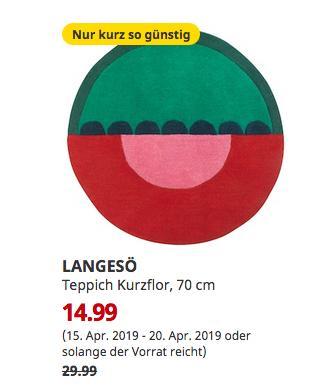 IKEA Würzburg - LANGESÖ Teppich Kurzflor, rot/grün, 70 cm - jetzt 50% billiger