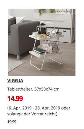 IKEA Wallau - VIGGJA Tabletthalter, weiß, 37x50x74 cm - jetzt 25% billiger