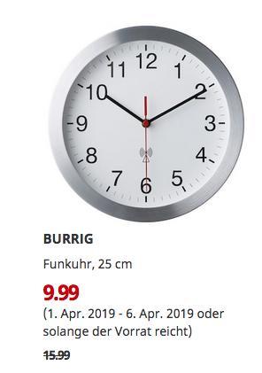 IKEA Walldorf - BURRIG Funkuhr, 25 cm - jetzt 38% billiger