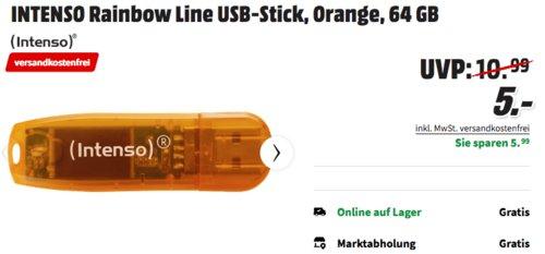 INTENSO Rainbow Line USB-Stick 64 GB, orange - jetzt 37% billiger