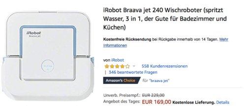 iRobot Braava jet 240 Wischroboter für bis zu 25 m² - jetzt 10% billiger