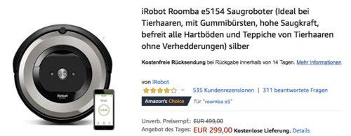 iRobot Roomba e5154 Saugroboter, silber - jetzt 28% billiger