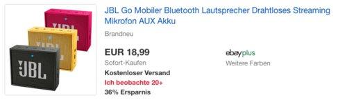 JBL Go Bluetooth Lautsprecher, versch. Farben - jetzt 14% billiger