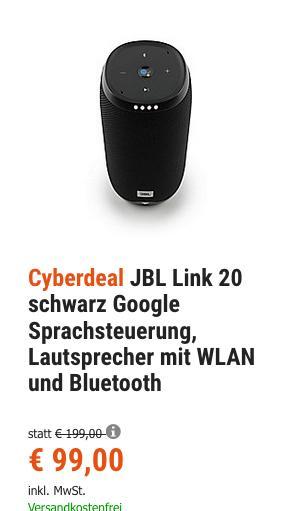 JBL Link 20 Multiroom Speaker mit Sprachsteuerung, schwarz - jetzt 23% billiger