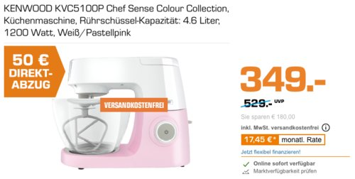 KENWOOD KVC5100P Chef Sense Küchenmaschine in Weiß/Pastellpink - jetzt 14% billiger