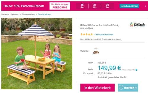 Kidkraft® Kinder-Gartentischset mit Bank, marineblau - jetzt 18% billiger