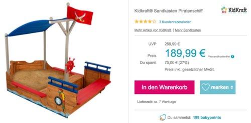 """Kidkraft® Sandkasten """"Piratenschiff"""", 200 x 113 x 151 cm - jetzt 11% billiger"""