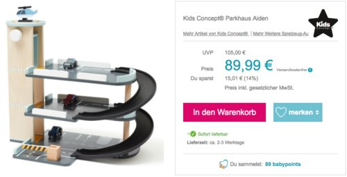 """Kids Concept® Holz-Parkhaus """"Aiden"""" für Spielzeugfahrzeuge , 31 x 45 x 52 cm - jetzt 17% billiger"""
