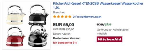 KitchenAid 1,9 Liter Wasserkessel KTEN20SB, versch. Farben - jetzt 7% billiger