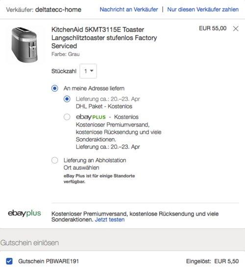 KitchenAid 5KMT3115E Toaster Grau oder Schwarz (Factory Serviced) - jetzt 24% billiger