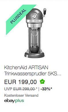 KitchenAid ARTISAN Trinkwassersprudler (5KSS1121MS) powered by Sodastream, silber - jetzt 10% billiger
