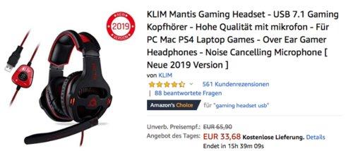 KLIM Mantis Gaming USB Headset - 7.1 Gaming Kopfhörer und Noise Cancelling Microphone - jetzt 30% billiger